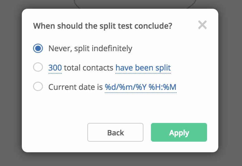 Split testing indefinitely