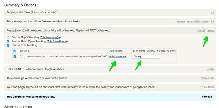 ActiveCampaign email automation links